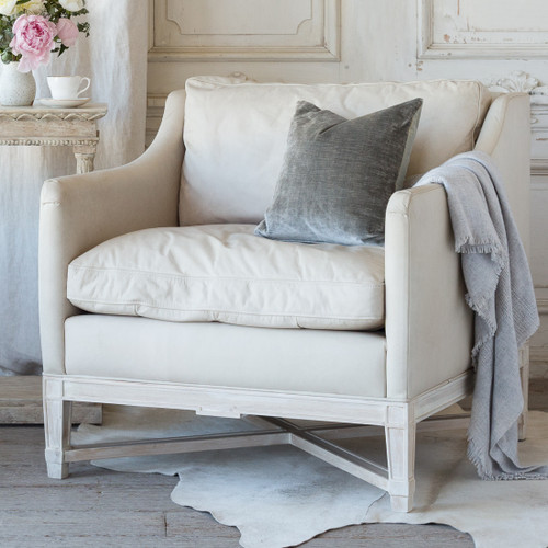 Eloquence® Scandinavian Bergere in Aged Beige Leather and Worn Oak Finish