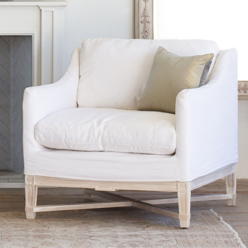 Eloquence® Scandinavian Bergere in Whispy White Linen Slip Cover and Worn Oak Finish