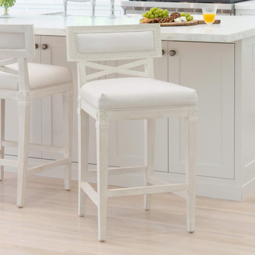 Eloquence® La Belle Fleur Counter Chair in White Leather and Chantilly White Finish