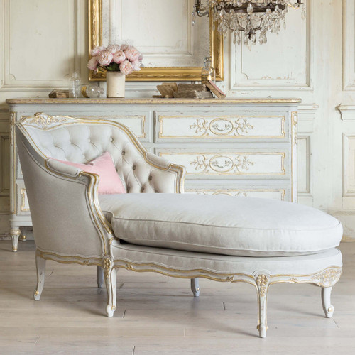 Eloquence® Louis Antique Reproduction Chaise in Fog Linen and Gold Two-Tone Finish with Dresser in a French Style Bedroom with the Bronte Dresser