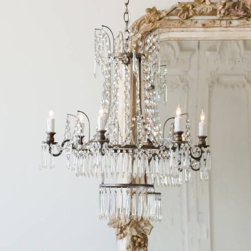 Eloquence® Henrik Antique Reproduction Chandelier in Burnished Iron with Antique Mirror
