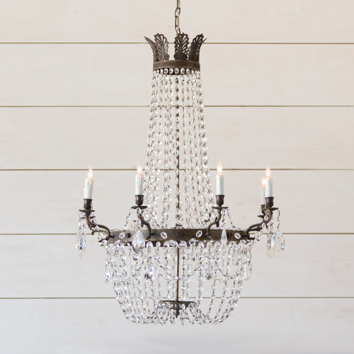 Eloquence® Fontaine Antique Reproduction Chandelier in Burnished Iron Frame and Crystal
