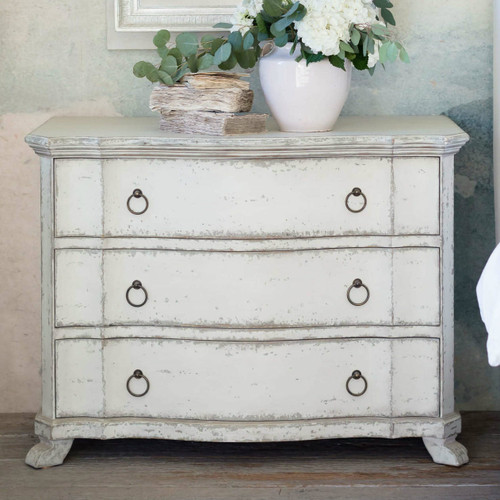 Eloquence® Petite Bordeaux Antique Reproduction Commode Dresser in Stone Grey and Distressed White Finish