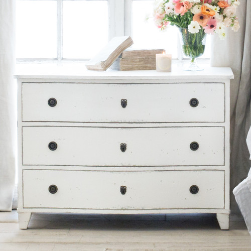 Eloquence® Gustavus Commode in Antique White Finish