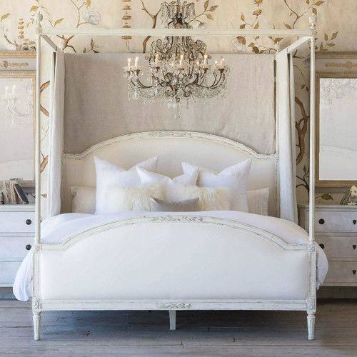 Eloquence® Dauphine Canopy Antique Reproduction Bed in White Linen and Weathered White Finish with Chandelier