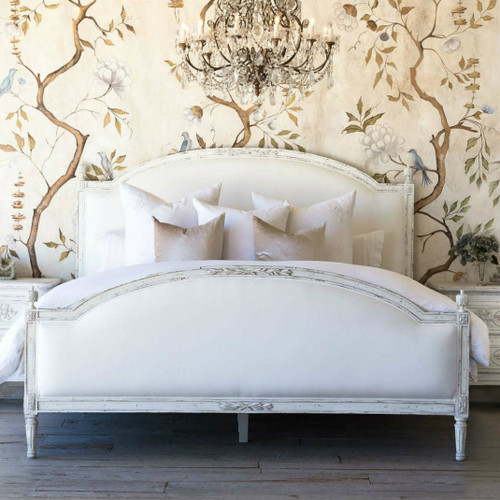 Eloquence® Dauphine Antique Reproduction Bed in White Linen and Weathered White Finish in a French Style Bedroom with Chandelier