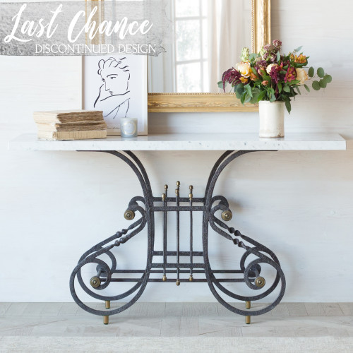 Eloquence® La Sorgue Console Table in Antique Steel Finish