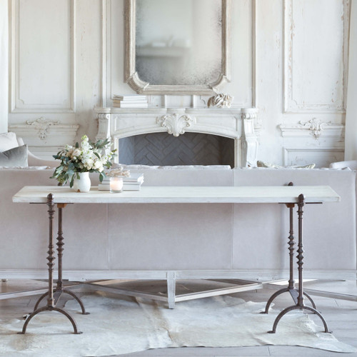 Eloquence® St. Remy Console Table in Pickled White Finish