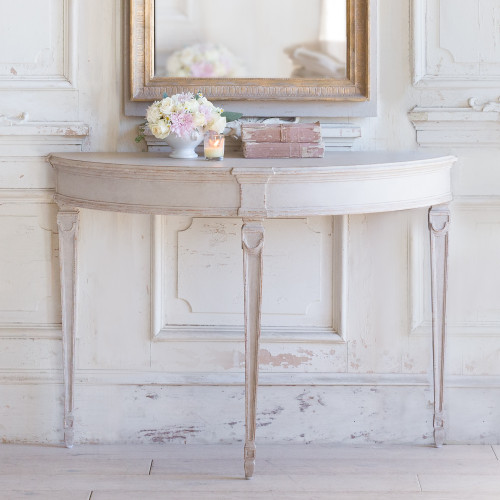 Eloquence® Sophia Magdalena Demi Lune Console in Gustavian Grey Finish