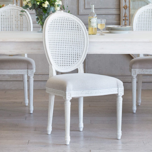 Eloquence® Louis Cane Dining Chair in Fog Linen and Antique White Finish