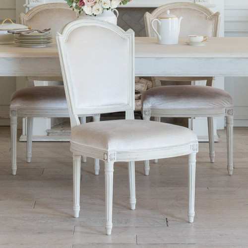 Eloquence® Flins Dining Chair in Dove Velvet and Antique Grey Finish