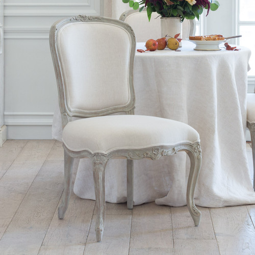 Eloquence® Colette Dining Chair in Fog Linen and Beach House Natural Finish 3/4 Angle View