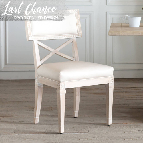 Eloquence® La Belle Fleur Dining Chair in Aged Beige Leather and Worn Oak Finish