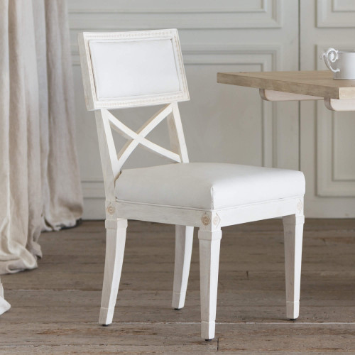 Eloquence® La Belle Fleur Dining Chair in White Leather and Chantilly White Finish