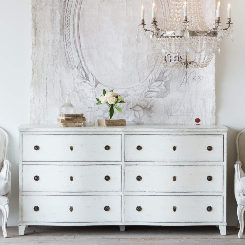 Eloquence® Gustavus White Dresser in Antique White Finish with Antique Brass Hardware