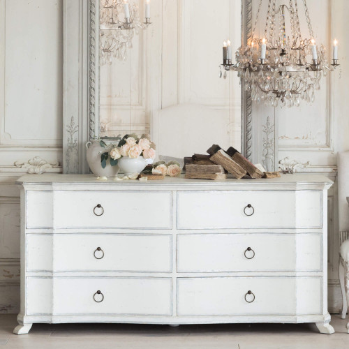 Eloquence® Bordeaux Dresser in Silver Two-Tone Finish French Style Bedroom with the Albertina Chandelier