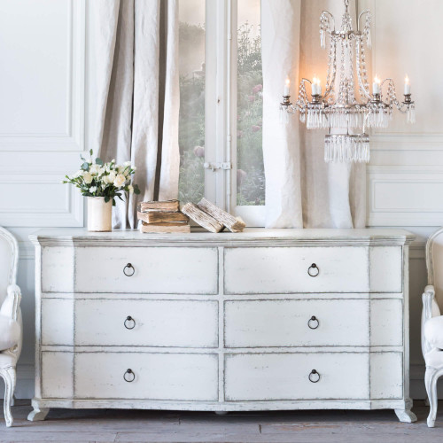 Eloquence® Bordeaux Dresser in Stone Finish in a French Style Bedroom