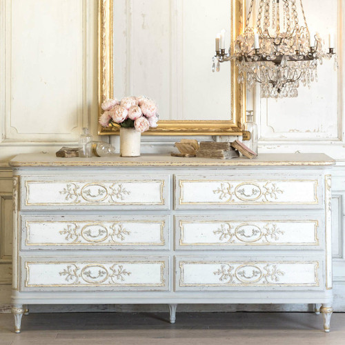 Eloquence® Bronte Dresser in Fleur de Lis Taupe and Distressed White in a French Style Bedroom with the Albertina Chandelier