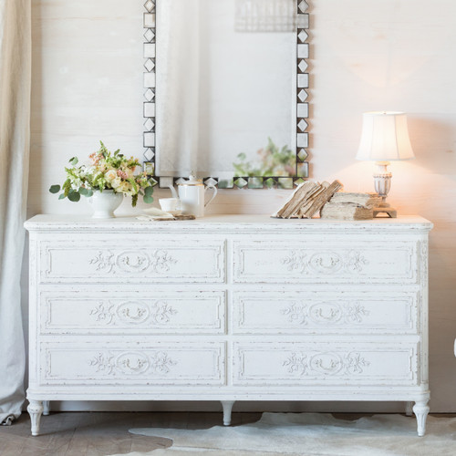 Eloquence® Bronte Dresser in Weathered White Finish in a French Style Bedroom with Whitewashed Hardware