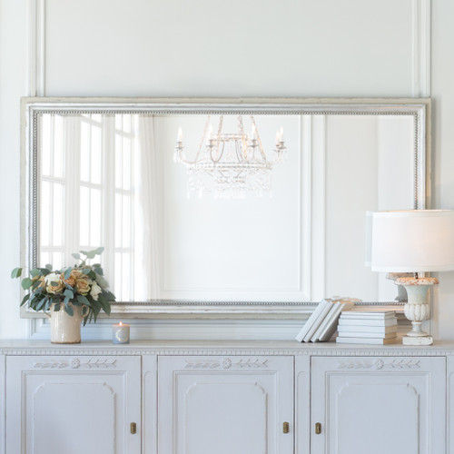 Eloquence® Grande Eugenie Panel Mirror in Silver and Stone Finish