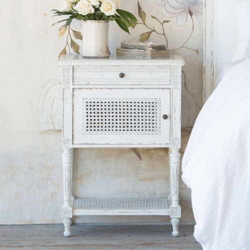 Eloquence® Giverny Nightstand in Weathered White Finish