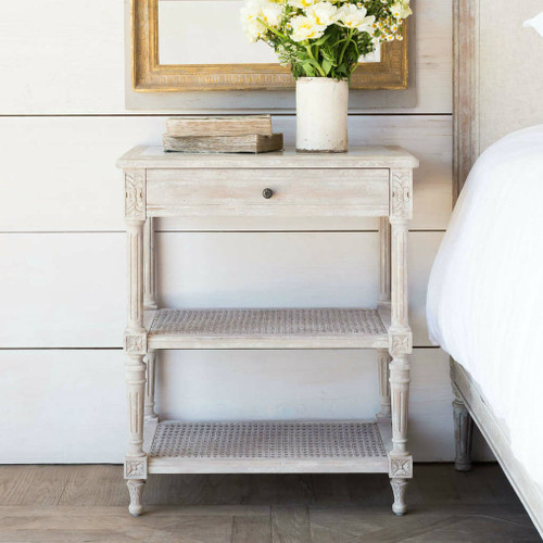 Eloquence® Napoleon Antique Reproduction Nightstand in Beach House Natural Finish in a French Style Bedroom