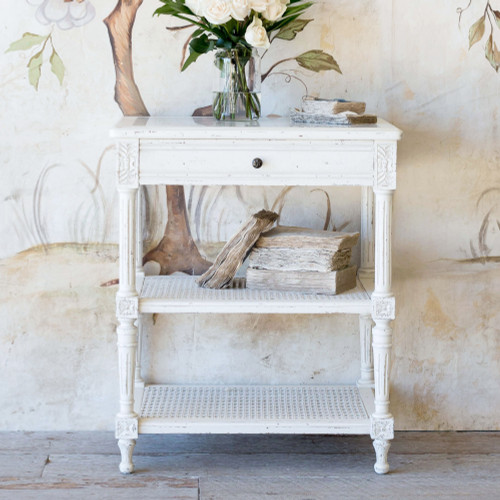 Eloquence® Napoleon Antique Reproduction Nightstand in Weathered White Finish