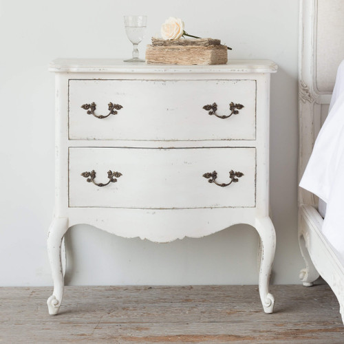 Eloquence® Clementine Nightstand in Antique White Finish in a French Style Bedroom