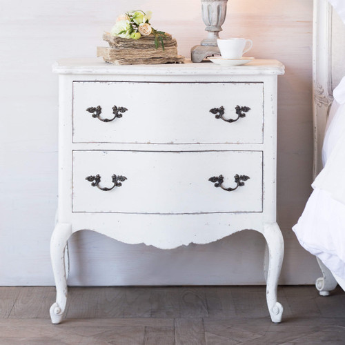 Eloquence® Clementine Nightstand in Weathered White Finish in a French Style Bedroom