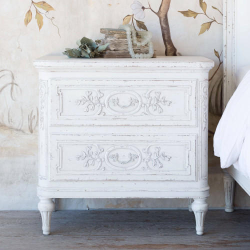Eloquence® Bronte Antique Reproduction Nightstand in Weathered White Finish in a French Style Bedroom