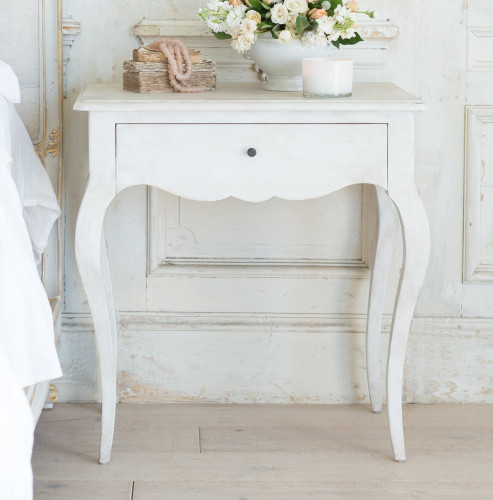 Eloquence® Elisabet Antique Reproduction Nightstand in Fleur de Sel White Finish