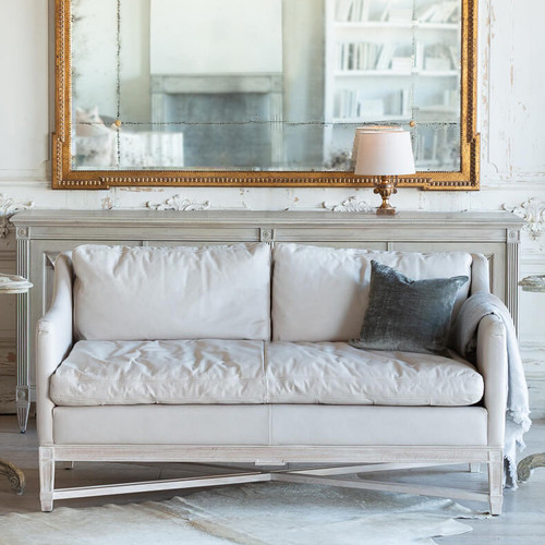 Eloquence® Scandinavian Loveseat in Aged Beige Leather and Worn Oak Finish