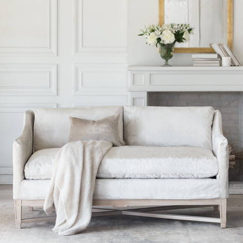 Eloquence® Scandinavian Loveseat in Dove Velvet Slipcover and Worn Oak Finish