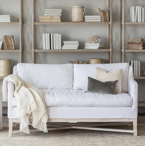 Eloquence® Scandinavian Loveseat in Whispy White Linen Slipcover and Worn Oak Finish