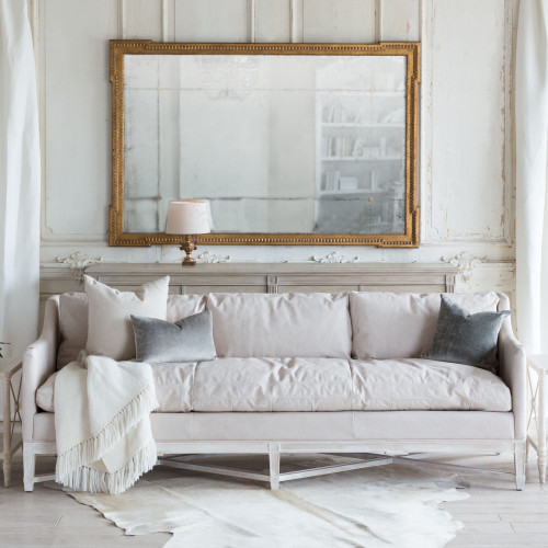 Eloquence® Scandinavian Sofa in Aged Beige Leather and Worn Oak Finish with Rodin Mirror in Distressed Gold Finish