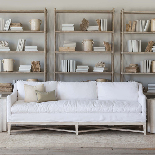 Eloquence® Scandinavian Sofa in Whispy White Linen Slip Cover and Worn Oak Finish and Tresor Bookshelves in Rustic Wood Finish