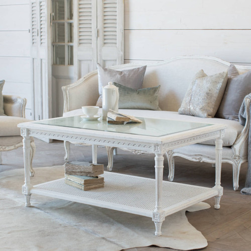 Eloquence® Medium Le Courte Coffee Table in Antique White Finish with the Seraphine Canape Sofa in Fog Linen and Gesso and Oyster Finish