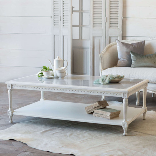 Eloquence® Grande Le Courte Coffee Table in Antique White Finish with the Seraphine Sofa
