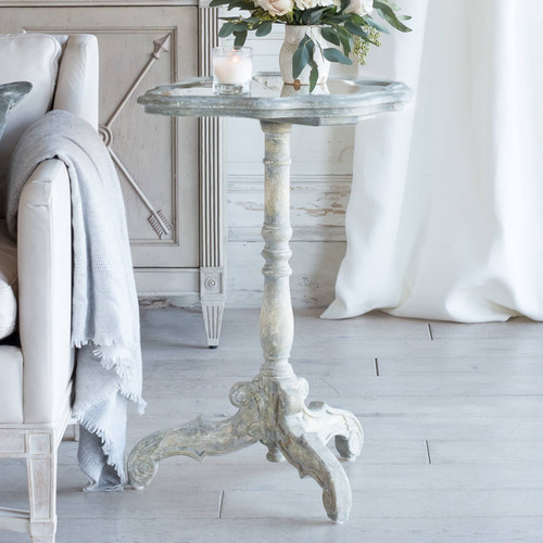 Eloquence® Corsican Side Table in Pickled Beige Finish