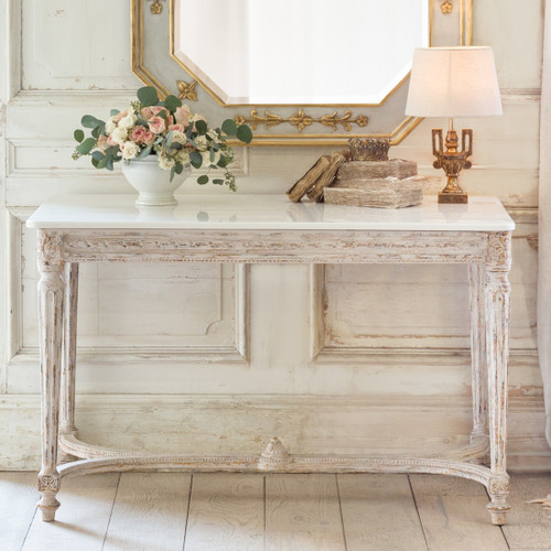 Eloquence® Contessa Entry Table in Chipped White Finish