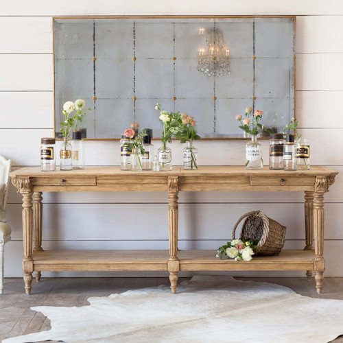 Eloquence® Avignon Drapery Table in Bleached Oak Finish with the Bistro Mirror