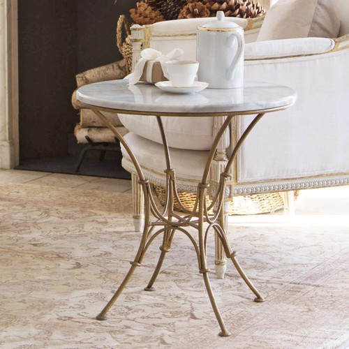 Eloquence® Parisian Side Table in Worn Gold Finish