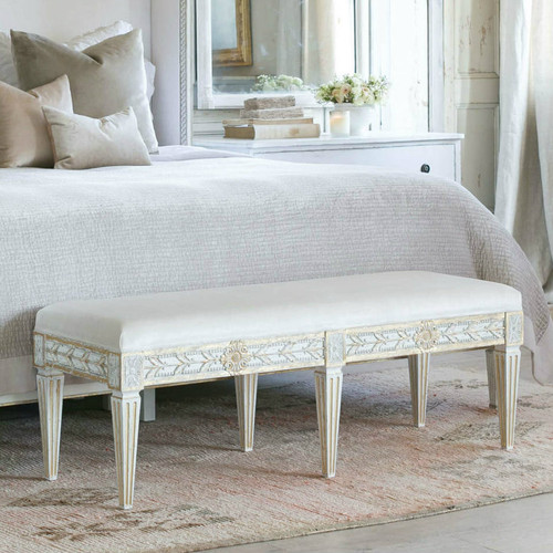 Eloquence® Queen Anais Bench in Ivory Velvet and Antique White with Gold Leaf Finish in a French Style Bedroom with the Cassia Bed