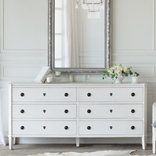 Eloquence® Nicolas Dresser in Fleur de Sel Finish in a French Style Bedroom