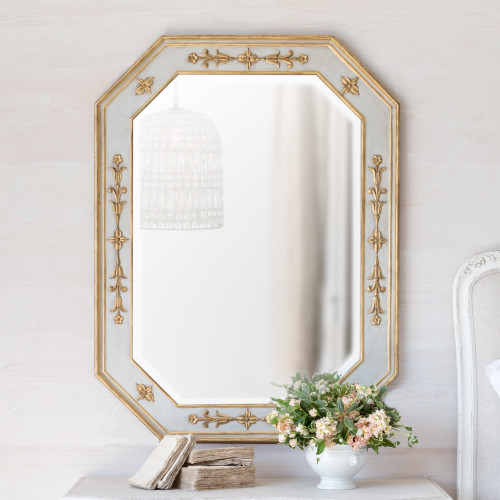 Eloquence® Tulipe Mirror in Chalk Grey and Gold Finish
