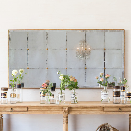 Eloquence® Bistro Mirror in Distressed Gold Finish with the Avignon Drapery Table