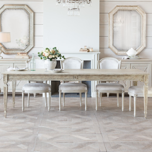 Eloquence® Grande Gustavian Dining Table in Oak Driftwood Finish