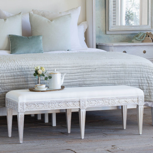 Eloquence® Queen Anais Bench in White Linen and Salt Water White Finish in a French Style Bedroom with the Cassia Bed