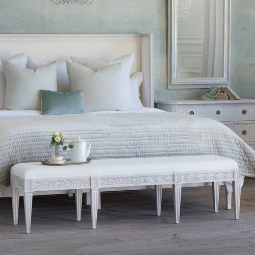 Eloquence® King Anais Bench in White Linen and Salt Water White Finish in a French Style Bedroom with a Cassia Bed