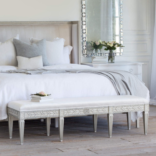 Eloquence® King Anais Bench in Dove Velvet and Antique Grey Finish in a French Style Bedroom at the foot of a Cassia Bed